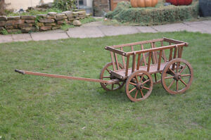 old vintage dog cart/ pony cart with wooden wheels - FREE DELIVERY