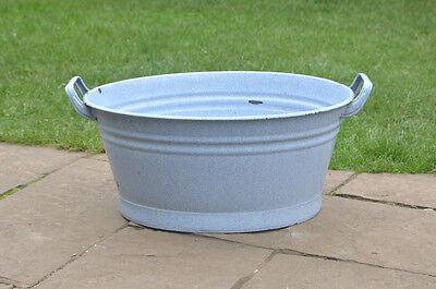 52 cm - old enamelled enamel washing bowl shabby bath chic -  FREE POSTAGE