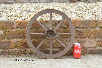 Vintage old wooden cart wagon wheel  / 39.5 cm- FREE DELIVERY