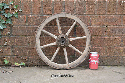 Vintage old wooden cart wagon wheel  / 39.5 cm FREE DELIVERY