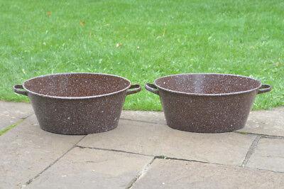 41.5  cm - old enamelled enamel washing bowl bath x2 -  FREE POSTAGE