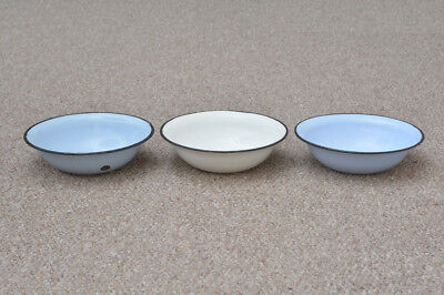 3x old enamelled washing bowl shabby bath chic enamel 24 cm FREE POSTAGE