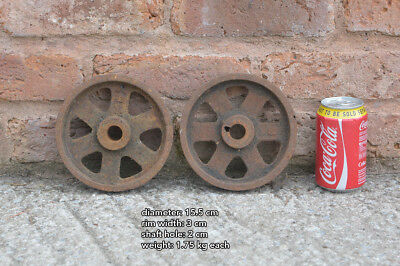 2x vintage old iron wheels wheel - 15.5 cm - FREE DELIVERY