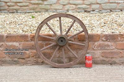 Vintage old wooden cart wagon wheel  / 50.5 cm / 4.1 kg
