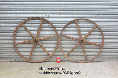 iron machinery old iron wheels pair iron wheels shepherd hut wheels 77.5 cm