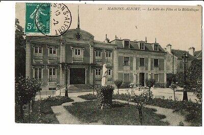 CPA-Carte postale- France Maisons Alfort- Salle des fêtes et Bibliothèque -1911-