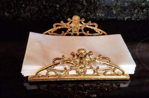 Hand Towel Tissue Napkin Holder Gold Tone Vanity Hollywood Regency Vintage