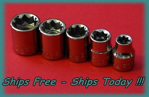 Craftsman 3/8 Drive 5 Piece 8 Pt Point SAE Inch Square Star Box Socket Set STD