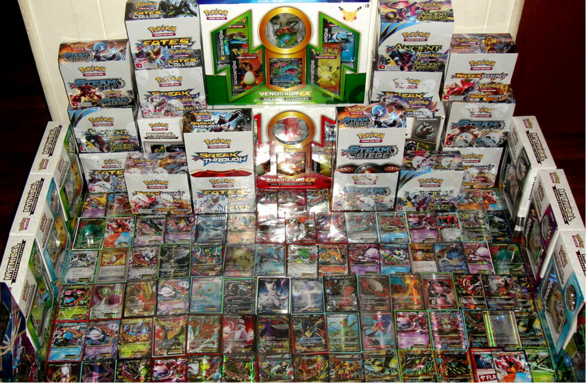 Pokemon 100 Card Lot - GUARANTEED 2 EX / GX & 1 Pack - Full Art Mega Secret Holo