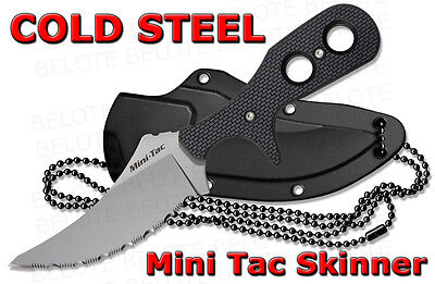 Cold Steel Mini Tac Skinner Serrated Fixed Blade w/Secure-Ex Neck Sheath 49HSFSZ (Serrated Secure Ex Sheath)