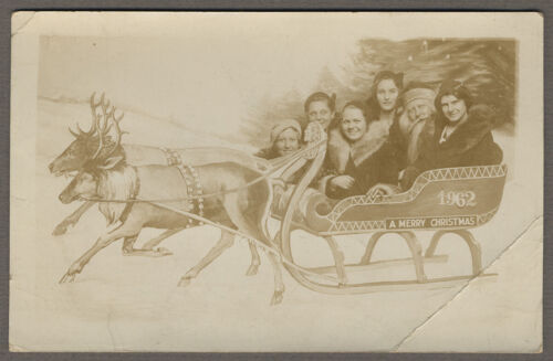 Antique Real Photo Postcard Santa Claus with 5 Adults 1920