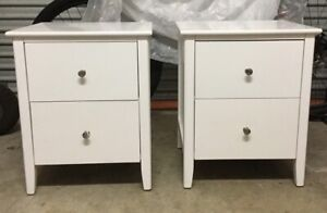 2 x white two drawer bedside tables