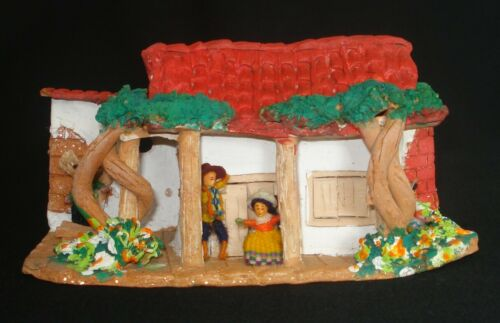 HANDMADE PAINTED 3D TERRACOTA CLAY FOLK ART HOUSE WITH TREES, FLOWERS AND PEOPLE