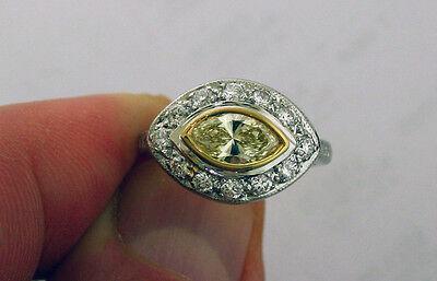 1.01 ct GIA Fancy Yellow Color VS1 Marquise Diamond Platinum Antique Ring 1.70 c
