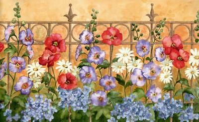 Flower Garden Wrought Iron Picket Fence Red Green Mauve Floral Wallpaper Border Green Border Fence