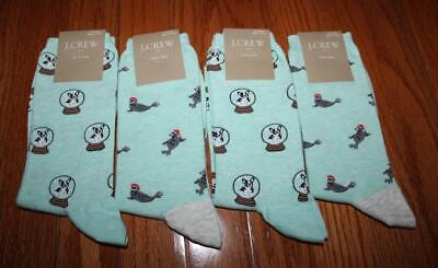 4x NWT J Crew Womens Crew Length Trouser Socks Boston Terriers Seals *5M