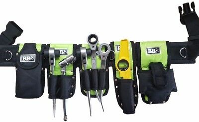 Hi Viz Green Tools Belt Scaffold Naylon Padded 8in1- Tripple Double Spanner