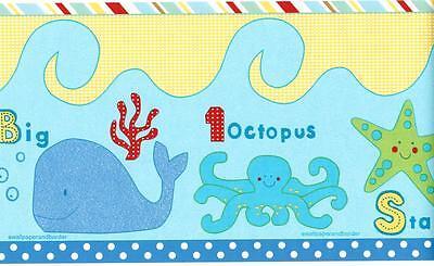 TROPICAL FISH Under the sea Wallpaper Border Ocean Blue Kid's room Wall - Under The Sea Room Decorations