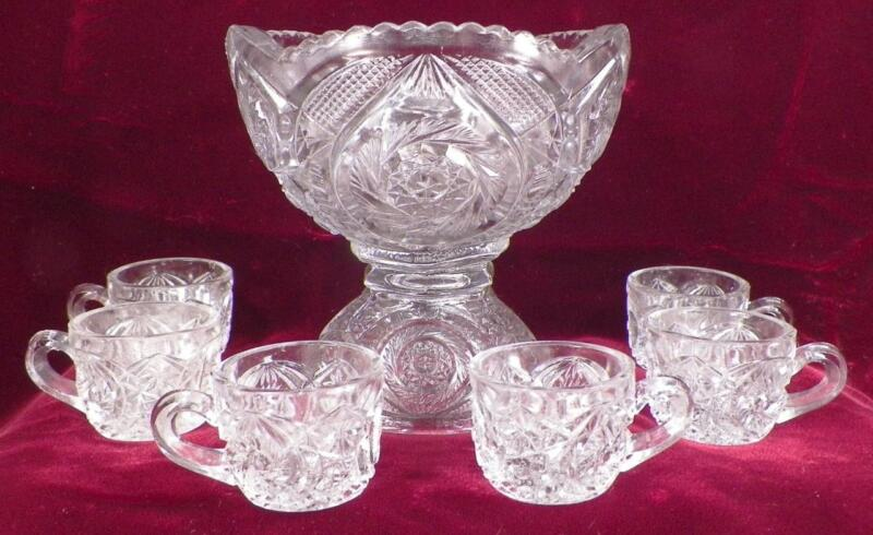 Childs Toy Punch Set Whirlgig US Glass #15101 Bowl 6 Cups EAPG Antique