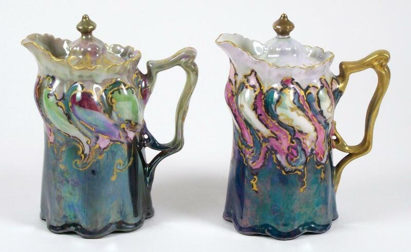 Antique Porcelain Syrup Pitcher Pair Hand Painted Artist Signed Cream Pitcher