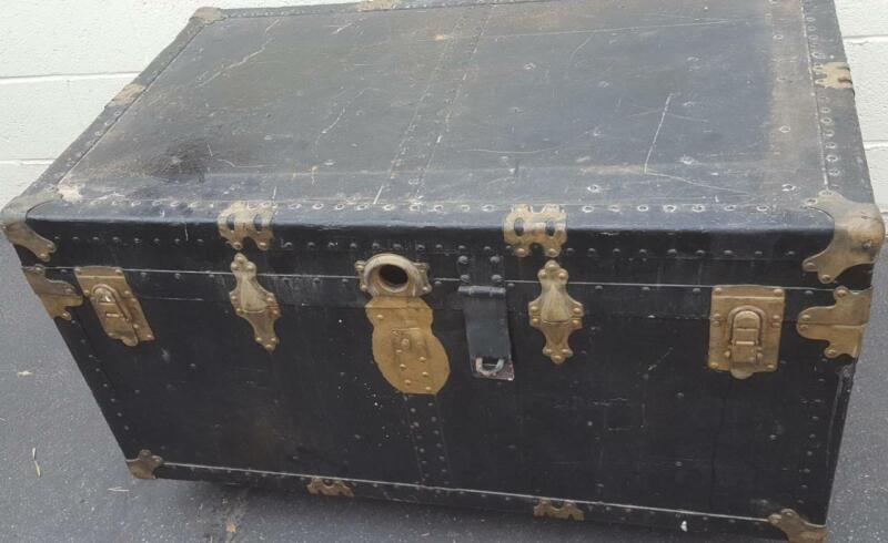 Antique Solid Wood Steamer Trunk - NEEDS TLC - FABULOUS OLD TRUNK WITH WHEELS