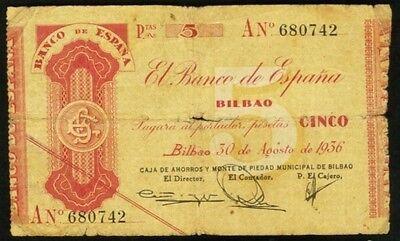 1936 Bilbao 5 Pesetas Spain  Banco De Espana  Sn  An 680742
