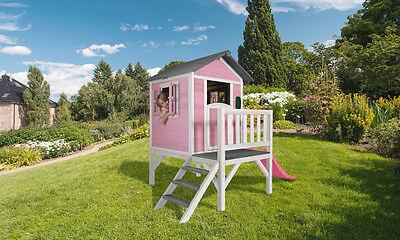 """SUNNY Kinderpielhaus Stelzenhaus """"Lodge XL"""" Spielhaus Gartenhaus aus Holz pink"""