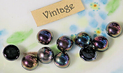 (Vintage Fire Polished Stones Cabochons Gun Metal 7mm Round Cabs Aurora (24E))