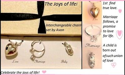 Baby Shoes Heart Necklace - AVON Necklace PENDANT CHARM LOT Set Joys of Life Heart Engagement Ring Baby Shoe