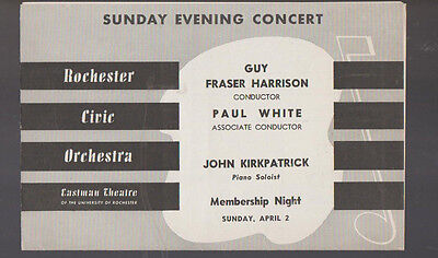 Rochester Civic Orchestra Program April 2 1950 John Kirkpatrick