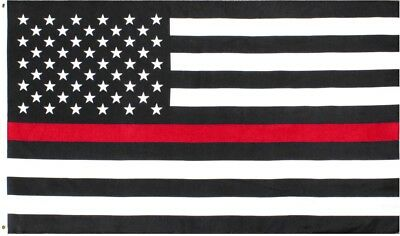 Subdued Thin Red Line US Flag Support The Firefighters American Flag 3' x 5'