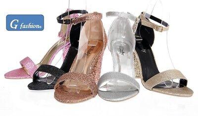NEW WOMENS LADIES BLOCK HEEL ANKLE STRAP GLITTER PEEP TOE PARTY SANDAL SHOES 3-8 Heel Glitter Sandal