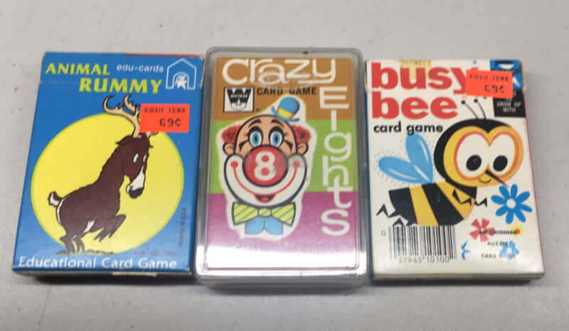 3 Vintage Card Games Crazy Eights Animal Rummy Busy Bee 1983