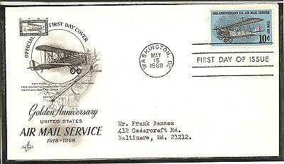 US SC  # C74 Air Mail Service FDC. Addressed ,Artcraft Cachet