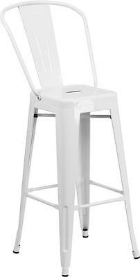 White 30 Seat Height Restaurant Metal Bar Height Stool