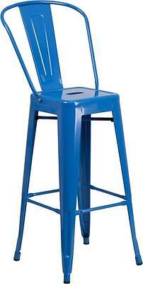Blue 30 Seat Height Restaurant Metal Bar Height Stool