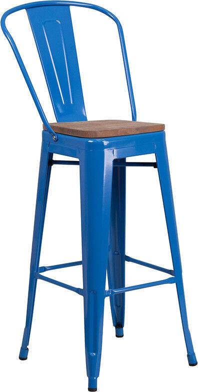 Excellent Details About 30 Industrial Style Blue Metal Bar Height Restaurant Stool With Wood Seat Inzonedesignstudio Interior Chair Design Inzonedesignstudiocom