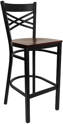 Black X Back Metal Restaurant Bar Stool With Mahogany Wood Seat