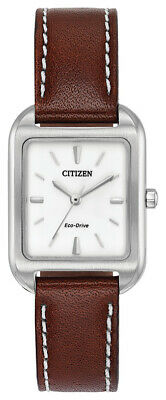 Citizen Eco-Drive Women's Silhouette Brown Leather Band 23mm Watch EM0490-08A