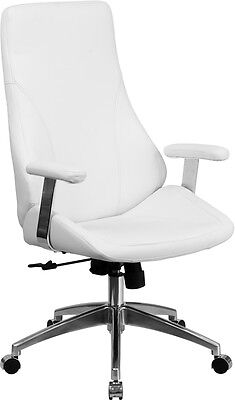 High Back White Leather Executive Swivel Office Chair - Conference Office Chair
