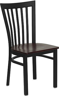 (Metal School House Back Restaurant Chair with Mahogany Wood Seat)