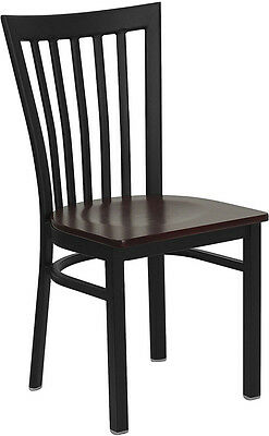 Lot Of 20 Metal School House Back Restaurant Chairs With Mahogany Wood Seat