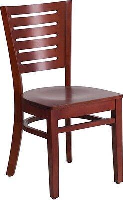 Slat Back Mahogany Wood Finish Restaurant Chair