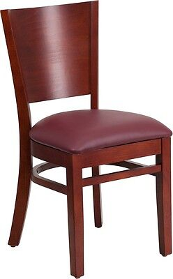 Burgundy Mahogany Wood (Solid Back Mahogany Wood Finish Restaurant Chair with Burgundy Vinyl)
