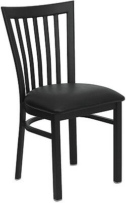 (Metal School House Back Restaurant Chair with Black Vinyl Seat)