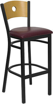 Burgundy Vinyl Seat Circle Natural Wood Back Metal Restaurant Bar Stool