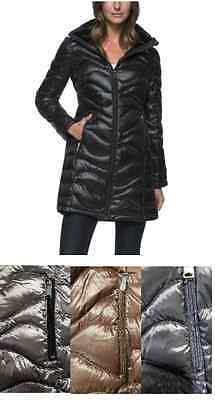 New Ladies Andrew Marc Long Hooded Down Puffer Jacket   Wavy