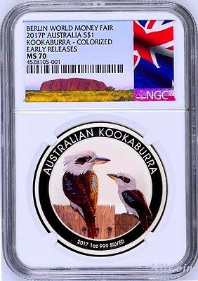 2017 P Berlin Show Australia COLORED Kookaburra Silver NGC MS 70 1oz $1 Coin ER