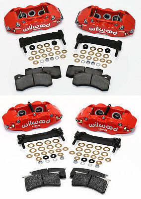 WILWOOD CALIPER,PAD,& BRACKET KIT,FRONT & REAR,97-13 CORVETTE C-5,C-6,Z06,RED