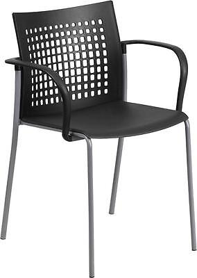 Black Caf Restaurant Indoor Outdoor Stack Chair With Arms And Vented Back